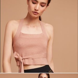 NEW ARITZIA matane rose gold XS knit backless top